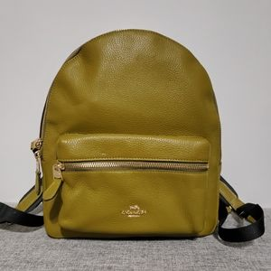 Coach Green Citron Leather Medium Charlie Backpack